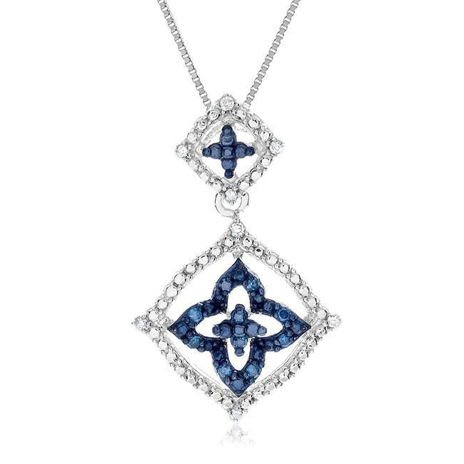 0.10 Carat Blue & White Diamond Pendant in Sterling Silver with Chain
