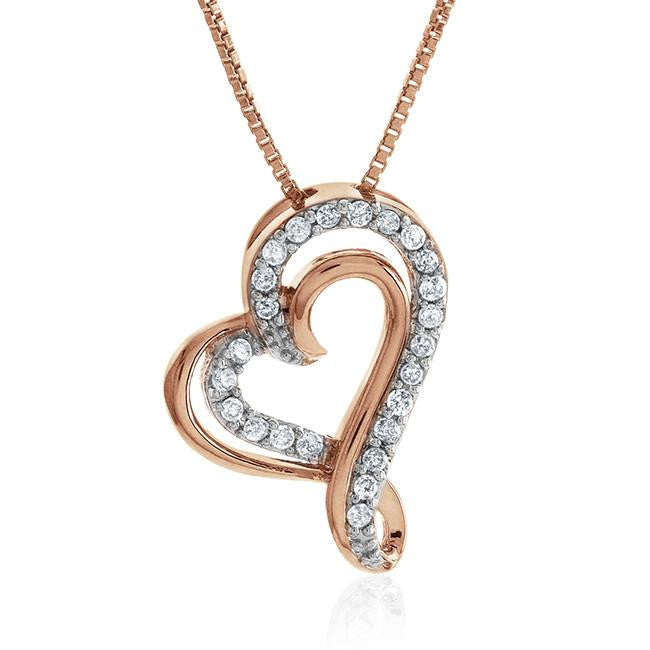 1/4 Carat Diamond Heart Pendant in Rose Gold-Plated Sterling Silver with Chain