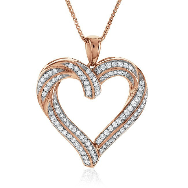 1/2 Carat Diamond Heart Pendant in Rose Gold-Plated Sterling Silver with Chain
