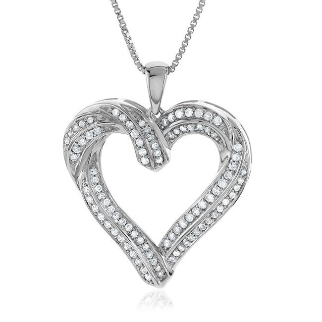 1/2 Carat Diamond Heart Pendant in Sterling Silver with Chain