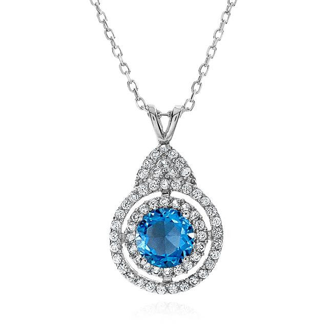 "2.55 Carat Genuine Blue Topaz With White Topaz Accent Pendant in Sterling Silver with 18"" Chain"