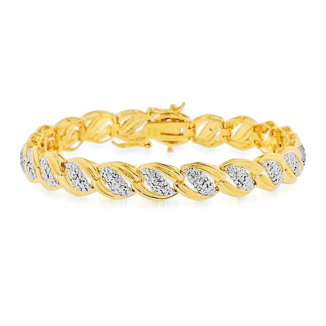 0.10 Carat Diamond Two-Tone Bracelet in Gold Over Silver - 7.5""
