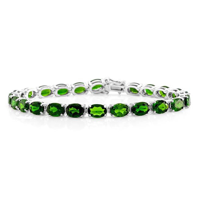 20.00 Carat Genuine Chrome Diopside Bracelet in Sterling Silver - 7.5""