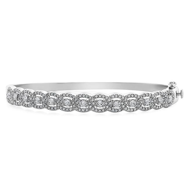 Diamond Accent & Crystal Designer Bangle in Sterling Silver - 7.5""