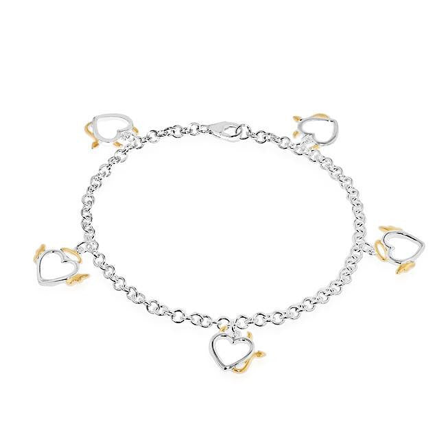 Angel & Devil Heart Charm Bracelet in Two-Tone Sterling Silver - 7.5""