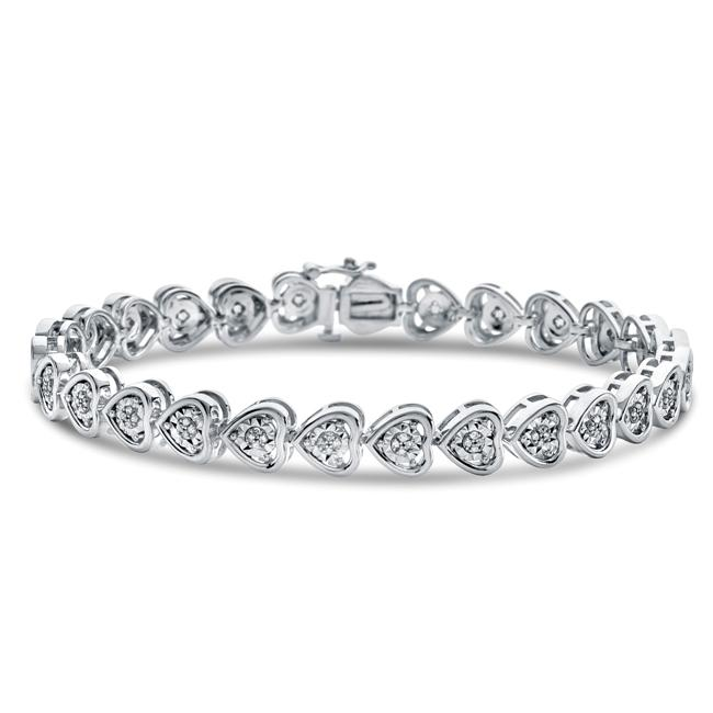 Diamond Miracles: 0.33 Carat Diamond Heart Link Bracelet in Sterling Silver - 7.5""