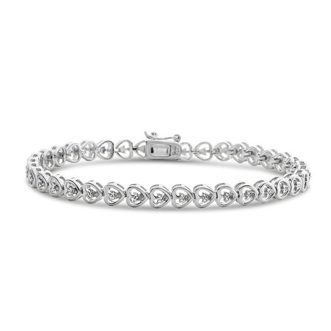 1/10 Carat Diamond Heart Link Bracelet in Sterling Silver - 7.5""