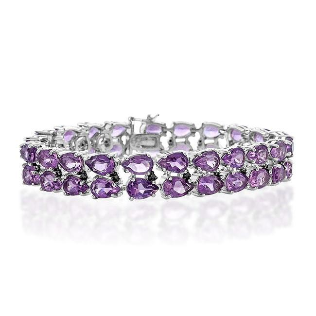32.00 Carat Amethyst and Black Diamond Bracelet in Sterling Silver - 7.5""