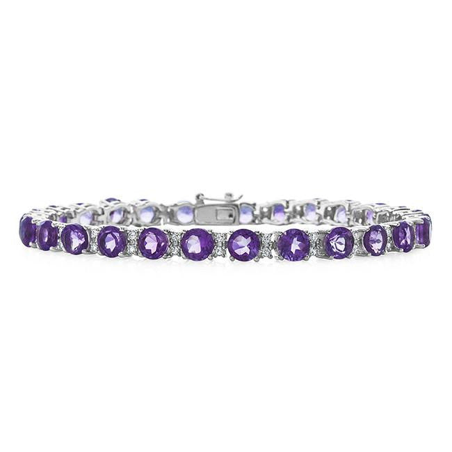 11.00 Carat Amethyst and White Topaz Bracelet in Sterling Silver - 8""