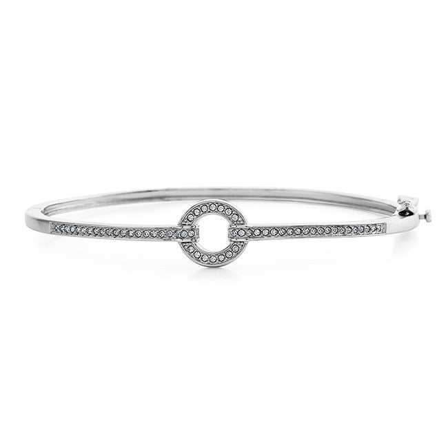 Diamond Accent & Crystal Circle Bangle in Sterling Silver - 7.5""