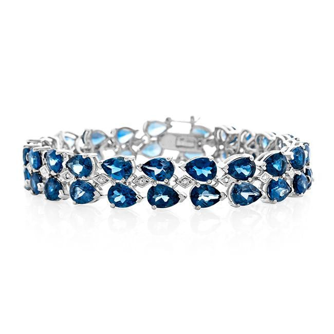 33.00 Carat Genuine London Blue Topaz Two-Row Bracelet in Sterling Silver - 7.75""