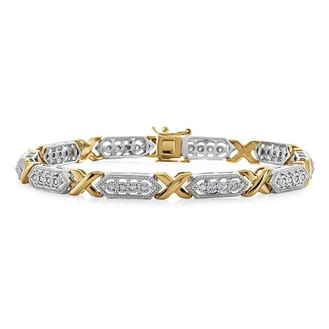 1/2 Carat Diamond XO Bracelet in Two-Tone Sterling Silver - 7.5""