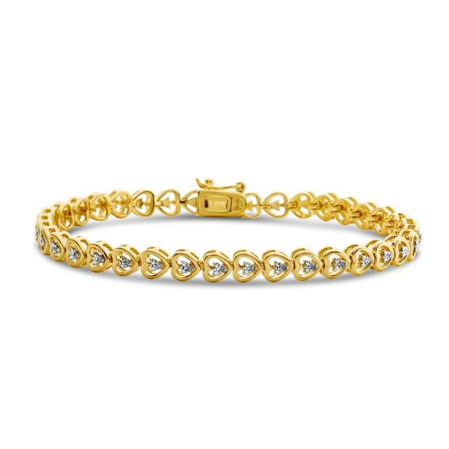 1/10 Carat Diamond Heart Link Bracelet in 14K Yellow Gold/Sterling Silver - 7.5""