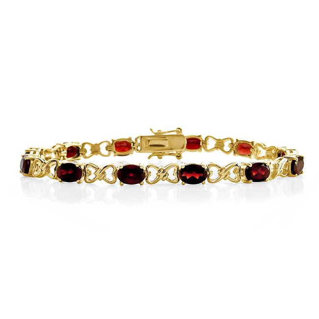 12.00 Carat Genuine Garnet Bracelet in 14K Yellow Gold Over Silver - 7.5""