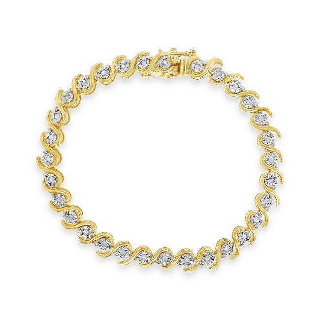 0.50 Carat Diamond Bracelet in Yellow Gold-Plated Sterling Silver - 07.5""