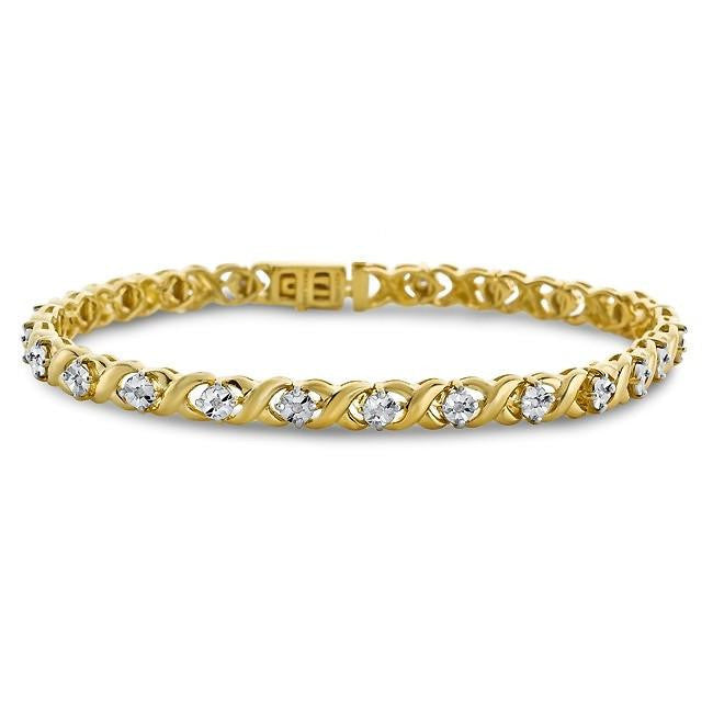 1/2 Carat Diamond XO Bracelet in 14K Yellow Gold/Sterling Silver - 7.5""