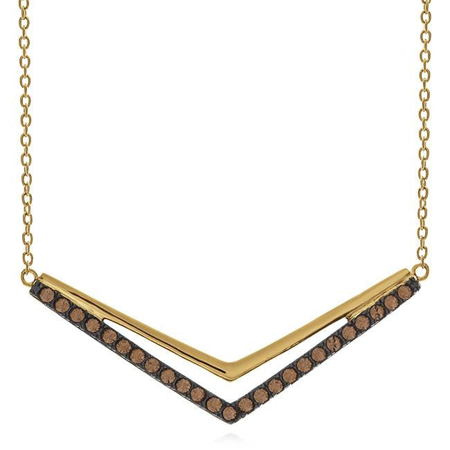 "Brown Crystal ""V"" Necklace in Gold-Plated Sterling Silver - 18"""