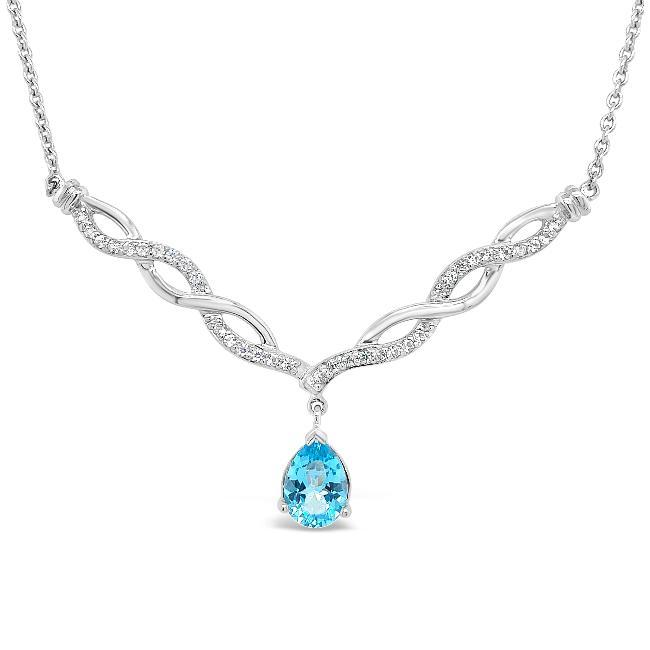3.13 Carat Blue Topaz & White Sapphire Necklace in Sterling Silver - 18""