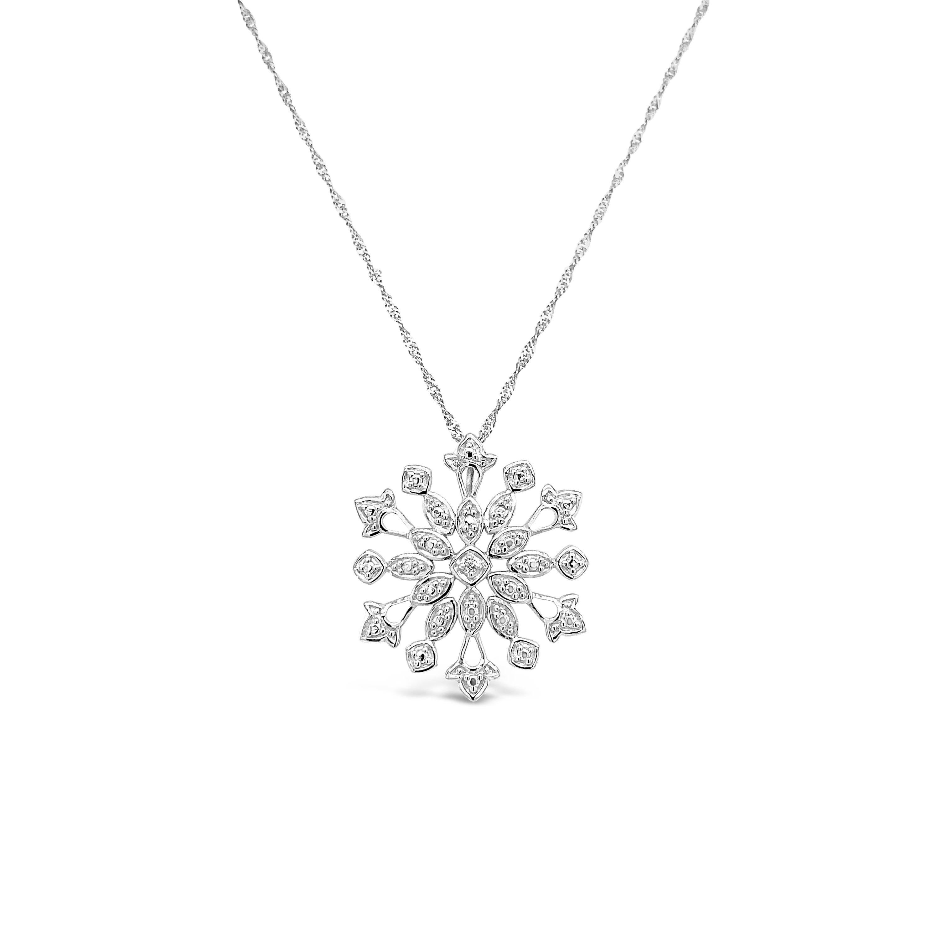 Diamond Accent Snowflake Pendant in Sterling Silver - 18