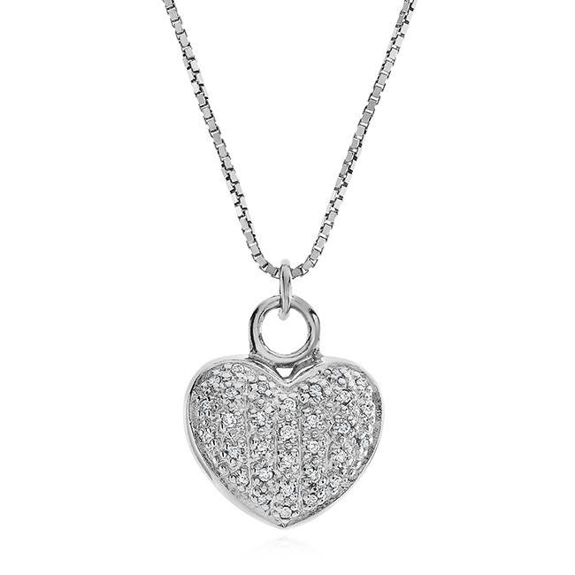 0.12 Carat Diamond Heart Pendant with Filigree Back in Sterling Silver - 18""