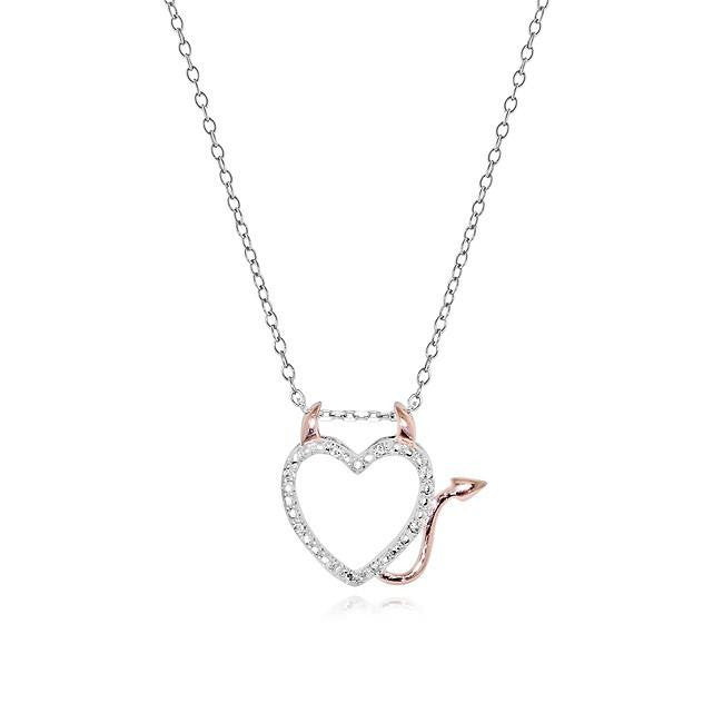 Diamond Accented Devil Heart Pendant in Rose Gold/Sterling Silver