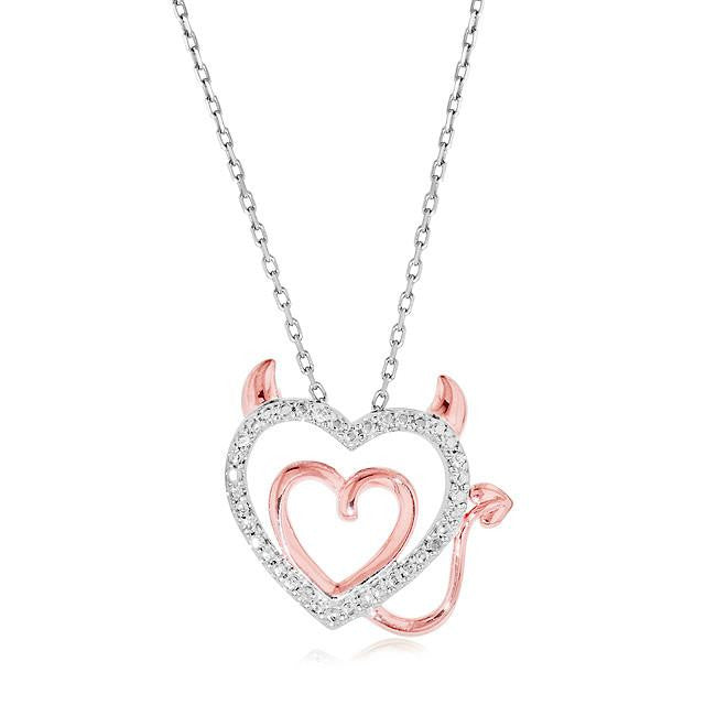 Diamond Accent Devil Double Heart Pendant in Two-Tone Sterling Silver with Chain