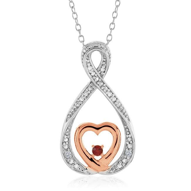 "Diamond Infinity Heart Pendant in Two-Tone Sterling Silver with 18"" Chain"