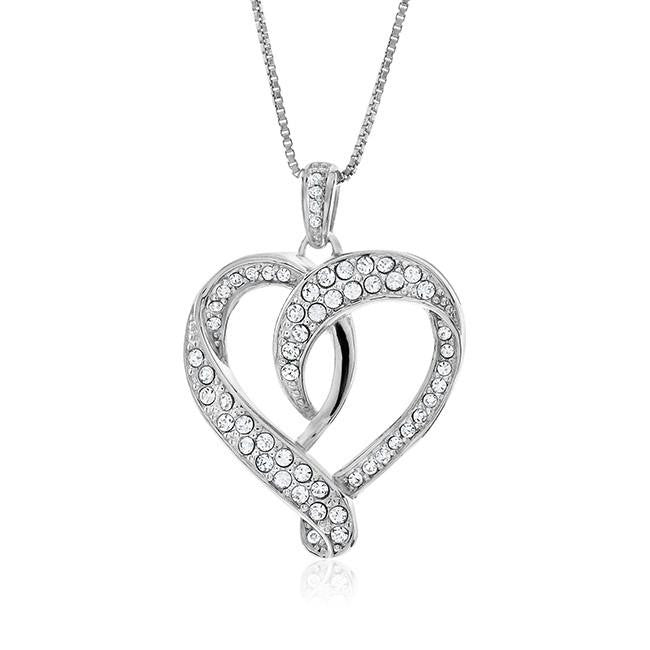 White Swarovksi Elements Heart Pendant in Sterling Silver with Chain