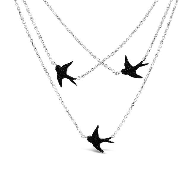 1/8 Carat Black Diamond Three Little Birds Necklace in Sterling Silver - 18""
