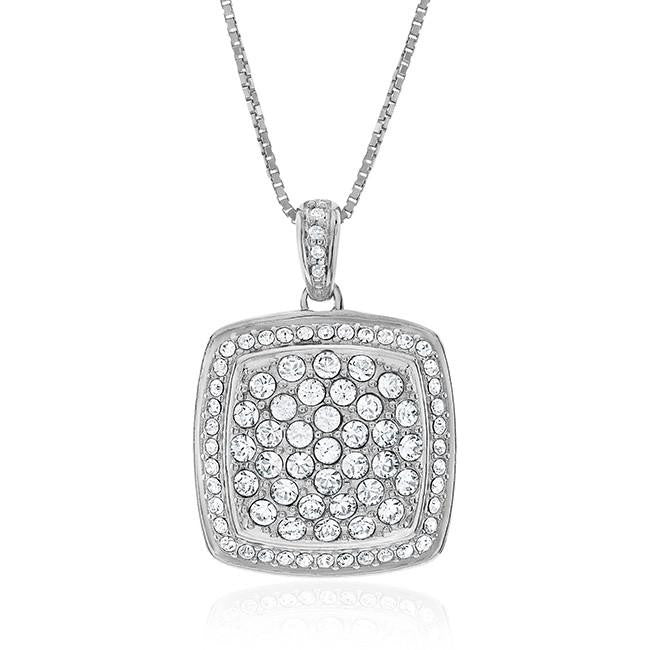 0.02 Carat Diamond and White Swarovski Elements Pendant in Sterling Silver with Chain