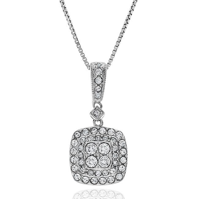 Diamond Accent & Crystal Square Pendant in Sterling Silver - 18""