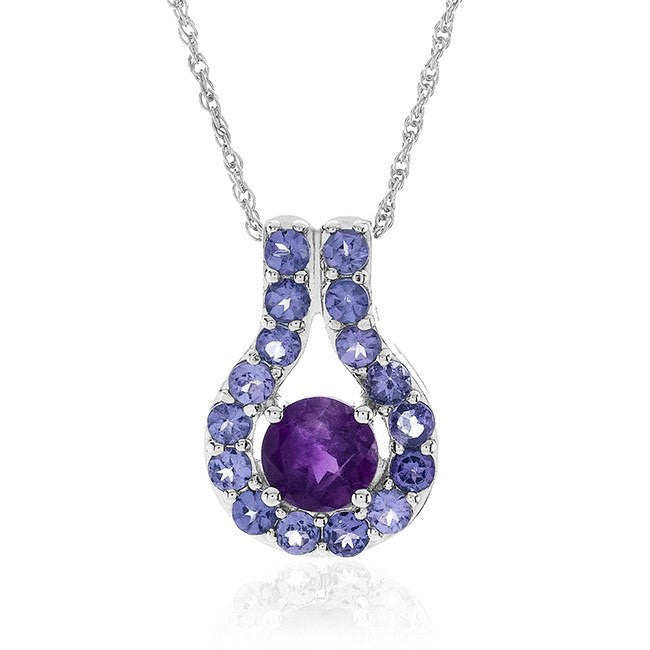 "1.66 Carat Genuine Amethyst & Tanzanite Pendant in Sterling Silver with 18"" Chain"