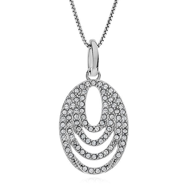 Diamond Accent & Crystal Oval Pendant in Sterling Silver - 18""