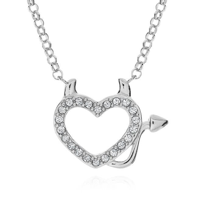 Crystal Heart Devil Pendant in Sterling Silver with Chain