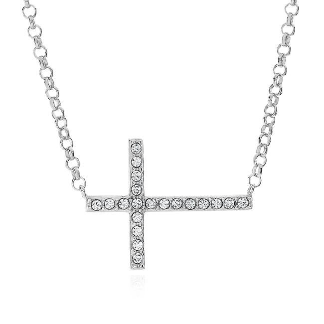 Crystal Sideways Cross Pendant in Sterling Silver with Chain