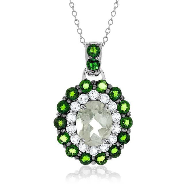 "5.10 Carat Genuine Green Amethyst & Chrome Diopside Pendant in Sterling Silver with 18"" Chain"