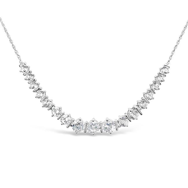4.66 Carat Created White Sapphire Graduated Ensemble Necklace in Sterling Silver - 18""