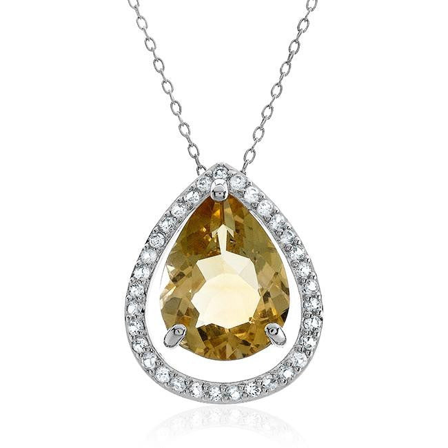 "5.50 Carat Genuine Citrine & White Topaz Teardrop Pendant in Sterling Silver with 18"" Chain"