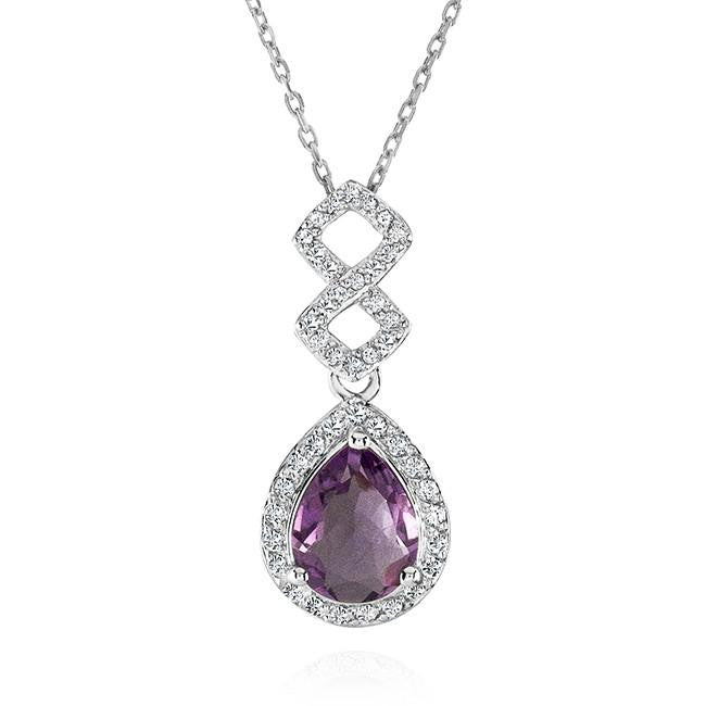 2.40 Carat Genuine Amethyst and White Topaz Pendant in Sterling Silver with Chain