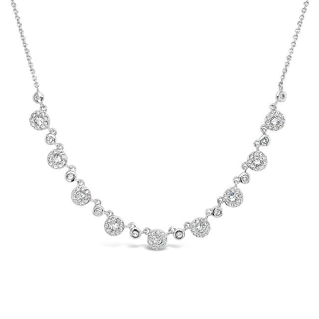 Diamond Accent & Created White Sapphire Statement Necklace in Sterling Silver - 17""