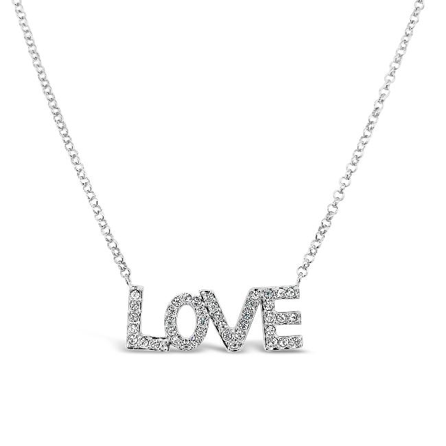 "White Sapphire ""Love"" Necklace in Sterling Silver - 18"""