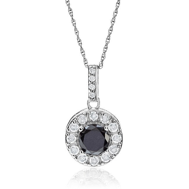 2.00 Carat Black & White Diamond Halo Pendant in Sterling Silver with Chain