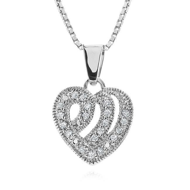 0.10 Carat Diamond Heart Pendant in Sterling Silver with Chain