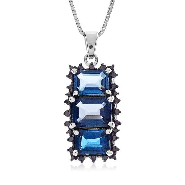 "4.50 Carat Genuine London Blue Topaz & Black Diamond Pendant in Sterling Silver with 18"" Chain"