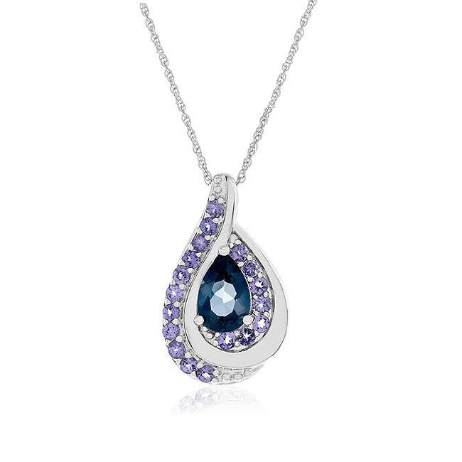 "2.40 Carat Genuine London Blue Topaz & Tanzanite Pendant in Sterling Silver with 18"" Chain"