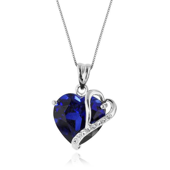 7.50 Carat tw Blue & White Sapphire Double Heart Pendant in Sterling Silver with Box Chain