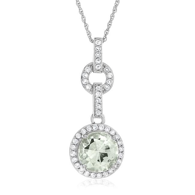 "2.75 Carat Genuine Green Amethyst & White Topaz Pendant in Sterling Silver with 18"" Chain"