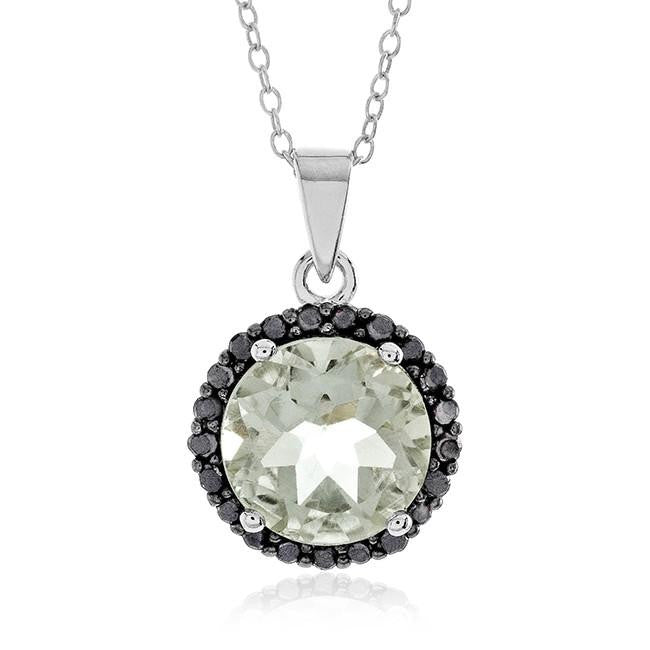 4.90 Carat Genuine Green Amethyst & Black Diamond Pendant in Sterling Silver with Chain