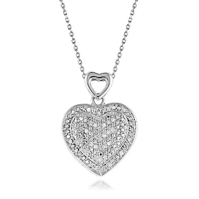 "0.25 Carat Diamond Heart Pendant in Sterling Silver with Rhodium Coating - 18"" Chain"