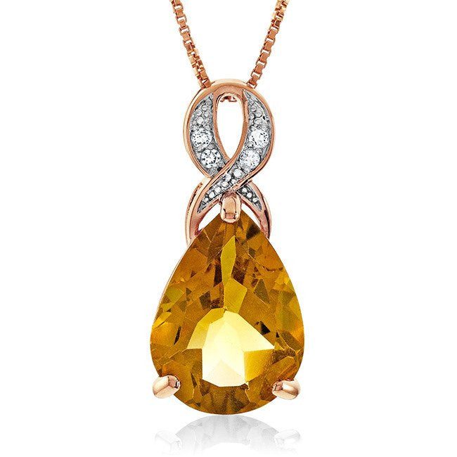 "4.60 Carat Genuine Citrine & White Topaz Teardrop Pendant in 14K Rose Gold Over Silver with 18"" Chain"